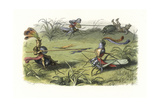 Elves in Suits of Armor Mounted on Crickets Giclee Print by Richard Doyle