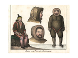Eskimo or Inuit Man and Woman in Sealskin Fur Clothes Lámina giclée