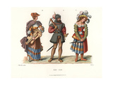 Costumes of a Crossbowman, Woman with Lyre, and Prostitute Giclee Print by Jakob Heinrich Hefner-Alteneck