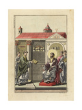 Augustin, Archbishop of Canterbury, Receiving a Book from Abbot Giclee Print by Robert von Spalart