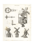 Windmill Elevation, Plan, Side, Showing Power Generating Machine Giclee Print by J. Farey