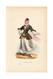 Armenian Girl in Headscarf, Veil, Jacket and Long Skirts over Trousers Giclee Print