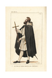 Knight Templar Squire or Servant Brother, 12th Century Giclee Print by Leopold Massard