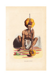 Indian Musician in Dhoti and Necklace Playing the Pennak Giclee Print