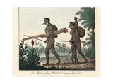 Botocudo Chief and Woman with Blowpipe, Eastern Brazil Giclee Print