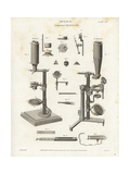 Compound Microscope Mechanisms and Parts Giclee Print by J. Farey