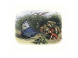 Elves and Fairies Teasing a Butterfly by Pulling its Wing Giclee Print by Richard Doyle