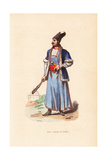 Persian Man in Fur Hat and Jacket, Carrying a Cudgel and Dagger Giclee Print by H. Hendrickx