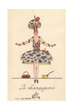 Woman in Mushroom Fancy Dress Costume, Le Champignon Giclee Print