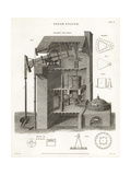 Atmospheric Steam Engine, Elevation, 19th Century Giclee Print by J. Farey