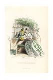 Tuberose and Jonquil Daffodil Flower Fairies Giclee Print by Jean Ignace Grandville
