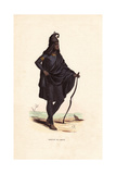 Man of Lahore (Punjab) in Black Suit, Turban and Cape, Carrying a Bow Giclee Print