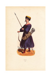 Kalmyk Man with Spear, Bow, and Quiver of Arrows Giclee Print by L. Delelie