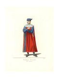 Costume of an Italian Nobleman, 14th Century Giclee Print by Paul Mercuri