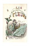 Title Page with Illustration of Flower Fairy Standing on a Flower Giclee Print by Jean Ignace Grandville