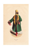 Man from Mardin, Turkey, in Embroidered Scarf, Cape, Boots Giclee Print by A. Vangauberche