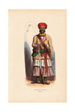 Indian Sepoy Officer in Turban and Jacket over Skirts Giclee Print