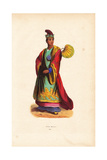 Burmese Nobleman in Embroidered Robes, Hat, and Slippers Giclee Print