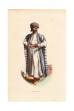 Arabian Merchant with Tattoos in Turban, Striped Cape and Slippers Giclee Print by F. Pannemaker