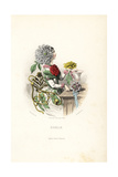 Dahlia Flower Fairy in Dress of Flowers and Leaves Giclee Print by Jean Ignace Grandville