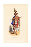 Young Indian Dancer in Bird Headdress, Cape, Dhoti and Anklets Giclee Print by L. Lisbet
