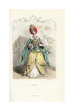Tulip Flower Fairy in Turban and Dress of Leaves and Petals Giclee Print by Jean Ignace Grandville