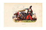 Persian Bombardier Firing a Cannon Mounted on a Saddle on a Camel Giclee Print by H. Hendrickx