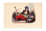 Persian Noble Woman in Jeweled Turban Smoking a Hookah Pipe Giclee Print by H. Hendrickx