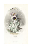 Pansy Flower Fairy, Viola Tricolor Giclee Print by Jean Ignace Grandville