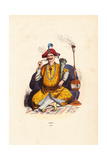 Indian Rajah in Bejeweled Robes and Hat, Smoking a Hookah Pipe Giclee Print