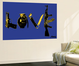 Love (Weapons) Blue Wall Mural by  Steez