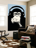 Headphone Chimp - Blue Wall Mural by  Steez