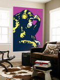 Monkey Thinker - Purple Wall Mural by  Steez