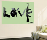 Love (Weapons) Green Wall Mural by  Steez