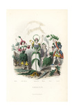 Flower Fairies of Tobacco, Everlasting, Olive, Marvel of Peru Giclee Print by Jean Ignace Grandville