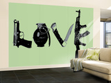 Love (Weapons) Green Wall Mural – Large by  Steez