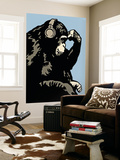 Monkey Thinker - Blue Wall Mural by  Steez