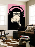 Headphone Chimp - Pink Wall Mural by  Steez