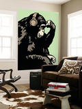 Headphone Chimp - Green Wall Mural by  Steez