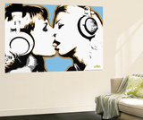 Girls Kissing Wall Mural by  Steez