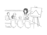 A man in a pharaoh headdress stands at the front of a conference table for… - New Yorker Cartoon Premium Giclee Print by Charlie Hankin