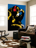 Monkey Thinker - Red Headphones Wall Mural by  Steez