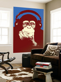 Headphone Chimp - Red Wall Mural by  Steez