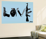 Love (Weapons) Light Blue Wall Mural by  Steez