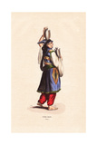 Druze Woman of Lebanon Wearing a Tantour Headdress Giclee Print by H. Hendrickx