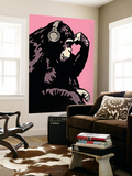 Monkey Thinker - Pink Wall Mural by  Steez