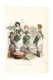 Flower Fairies Being Sold Like Slaves at a Market Giclee Print by Jean Ignace Grandville