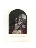 A Woman in French Costume Tunes a 12-String Lute Giclee Print by Franz van Mieris