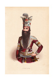 Shah of Persia with Long Beard and Elaborately Bejeweled Crown Giclee Print by H. Hendrickx