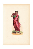 Young Indian Noble Girl in Sari, Choli and Veil, Bracelets and Necklaces Giclee Print